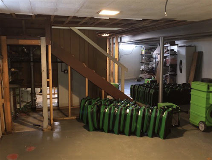 equipment in a basement ready for commercial water damage